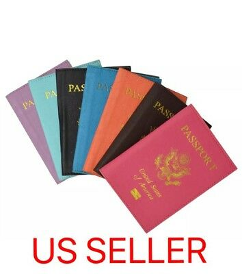 Passport Holder Leather Case Cover Travel ID Wallet Credit Card - USA SELLER