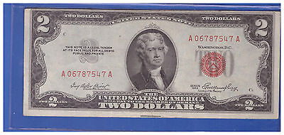 1953 $2 Dollar Bill Old Us Note Legal Tender Paper Money Currency Red Seal R870