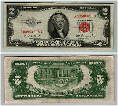 1953 $2 Dollar Bill Old Us Note Legal Tender Paper Money Currency Red Seal P672