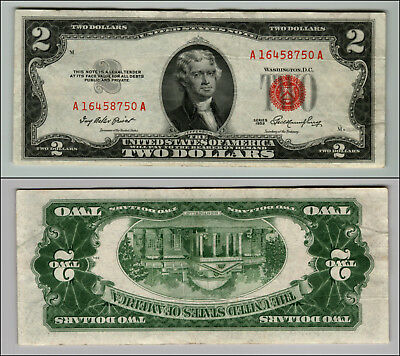 1953 $2 Dollar Bill Old Us Note Legal Tender Paper Money Currency Red Seal P671