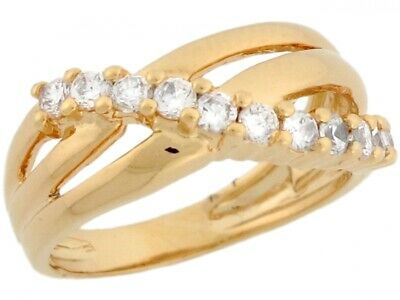 10k or 14k Yellow Gold Stunning Ladies Multi Line Ring with Round CZ Detail