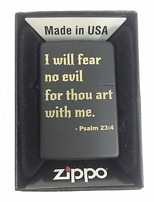 Zippo Custom Lighter - I Will Fear No Evil Bible Verse Psalm 23:4 - Black Matte
