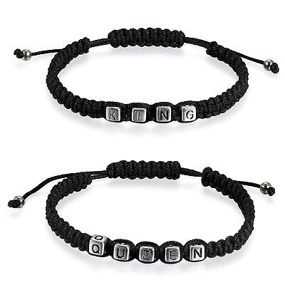 "2pcs Couple Handmade ""Her King"" ""His Queen"" Braided Black Leather Strap Bracelet"