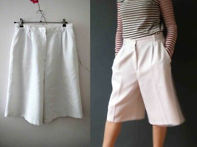 80s White Linen Look Culottes Shorts Buy 3+ items for FREE Postage