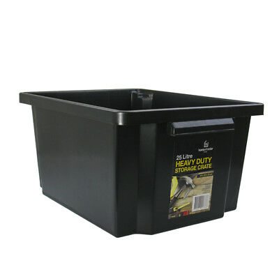 2 x Black Heavy Duty Large Plastic Storage Tubs 25L Crate Containers Tub Box DD