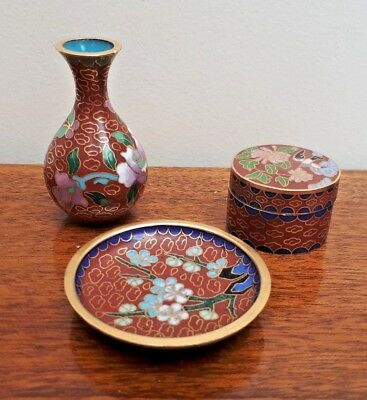 Oriental Cloisonne Miniatures Vase Display Plate & Pill Box Birds & Flowers