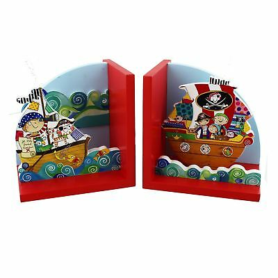 Colourful Child's Pirate Theme Pair of Book Ends from Rachel Ellen Designs