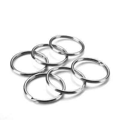 50 Pcs Steel Keyring Split Key Rings 25mm Nickel Hoop Ring Bright&Silver-color