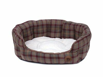 Petface Country Check Oval Bed Medium Large. Pet Dog Cat Reversible Soft Comfy