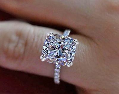 Certified 2.40ct White Cushion Diamond Engagement Ring in 14K White Gold