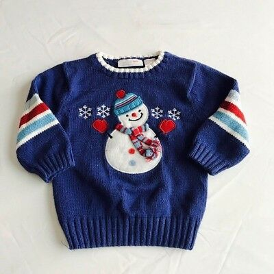 Wonderkids Boys Sweater Cotton Crew Neck Snowman Christmas Holiday Size 2T