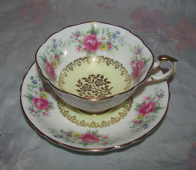 Vintage Paragon Tea Cup and Saucer, Red Roses with Yellow and Gold