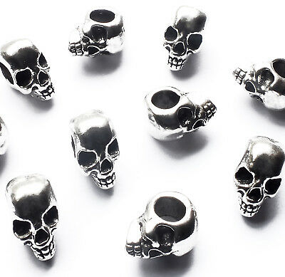 10 x Quality Skull Head Beads Spacer Charm 12mm Big Horizontal hole 4mm, Gothic
