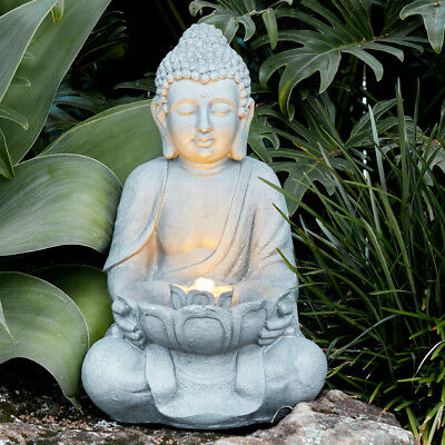 Buddha Statue Outdoor Garden Patio Water Feature Fountain with LED Lights 42cm