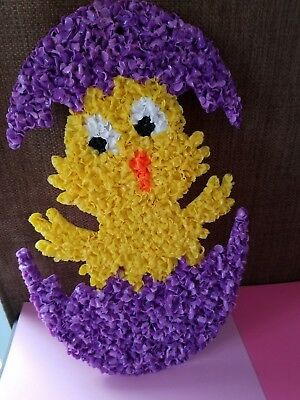 Vintage Easater Chick  Melted Plastic Popcorn Wall Decoration EASTER Purple
