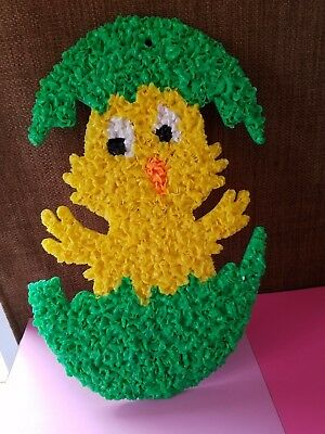 Vintage Easater Chick  Melted Plastic Popcorn Wall Decoration EASTER Green