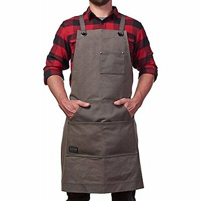 - Heavy Duty Waxed Canvas Work Apron With Tool Pockets (Grey), Cross-Back Straps