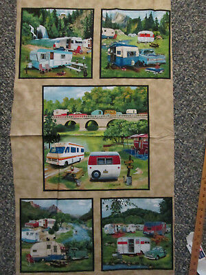 Vintage Trailer Rv Camper Nature 5 Block Cotton Fabric Panel