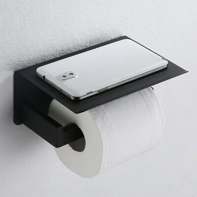 Toilet Paper Holder with Mobile Phone Storage Shelf Rack Black Stainless Steel
