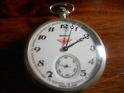 Vintage MOLNIJA TRAIN USSR RUSSIA  POCKET WATCH, working fine