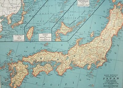 1937 Antique Japan Map - Taiwan - Hokkaido - Chishima - Old Print - Vintage Art