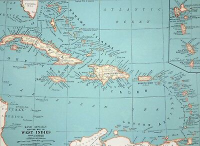 1937 Antique West Indies Map - Cuba - Jamaica Bahamas - Old Print - Vintage Art