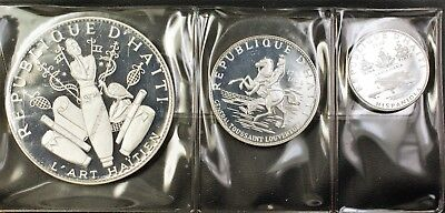 1968 Haiti 3 Coin Silver Proof Commemorative Set 25 10 and 5 Gourdes