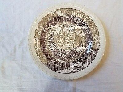 Brown  New Orleans Vernon Kilns collector plate Hausmann, embossed edge
