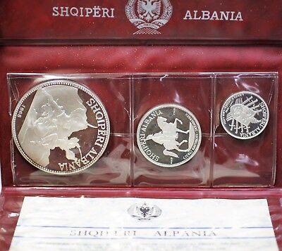 1968 Albania 3 Coin Silver Gem Proof Set 25 10 and 5 Leke OGP with COA
