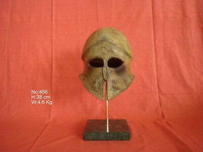Ancient Greek Spartan Bronze Helmet Museum Replica On Marble Base