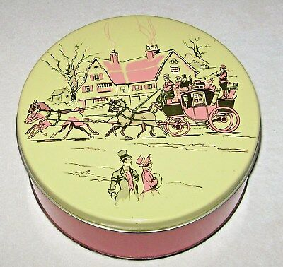 Vintage Candy or Cookie Tin 19th Century English Horse Drawn Carriage & Cottage