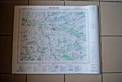 T1 Carte France ARCIS SUR AUBE 1970 plan 1/50000 type 1922 n°21 old map IGNF