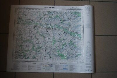 T1 Carte France ARCIS SUR AUBE 1970 plan 1/50000 type 1922 n°22 old map IGNF