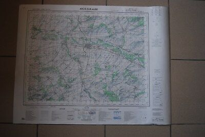 T1 Carte France ARCIS SUR AUBE 1970 plan 1/50000 type 1922 n°1 old map IGNF