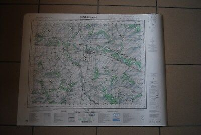T1 Carte France ARCIS SUR AUBE 1970 plan 1/50000 type 1922 n°3 old map IGNF