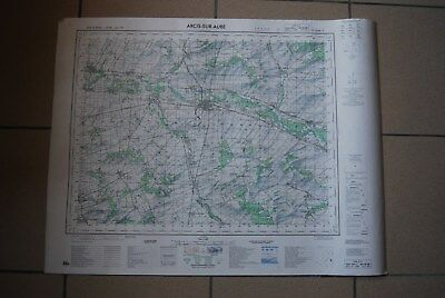 T1 Carte France ARCIS SUR AUBE 1970 plan 1/50000 type 1922 n°5 old map IGNF