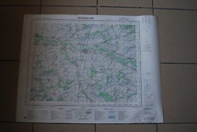 T1 Carte France ARCIS SUR AUBE 1970 plan 1/50000 type 1922 n°7 old map IGNF