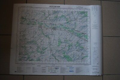 T1 Carte France ARCIS SUR AUBE 1970 plan 1/50000 type 1922 n°8 old map IGNF