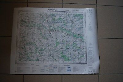 T1 Carte France ARCIS SUR AUBE 1970 plan 1/50000 type 1922 n°9 old map IGNF