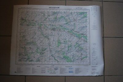 T1 Carte France ARCIS SUR AUBE 1970 plan 1/50000 type 1922 n°11 old map IGNF