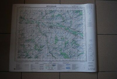 T1 Carte France ARCIS SUR AUBE 1970 plan 1/50000 type 1922 n°12 old map IGNF