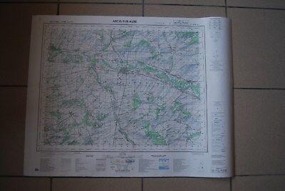T1 Carte France ARCIS SUR AUBE 1970 plan 1/50000 type 1922 n°13 old map IGNF