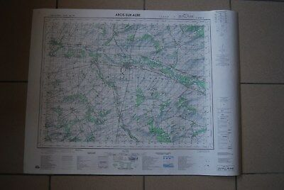 T1 Carte France ARCIS SUR AUBE 1970 plan 1/50000 type 1922 n°14 old map IGNF