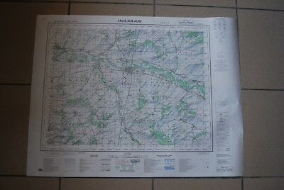 T1 Carte France ARCIS SUR AUBE 1970 plan 1/50000 type 1922 n°15 old map IGNF