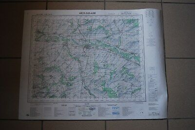 T1 Carte France ARCIS SUR AUBE 1970 plan 1/50000 type 1922 n°16 old map IGNF