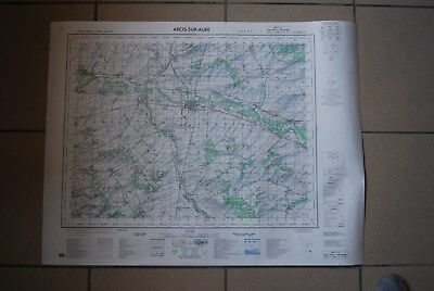 T1 Carte France ARCIS SUR AUBE 1970 plan 1/50000 type 1922 n°17 old map IGNF
