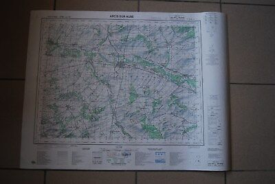 T1 Carte France ARCIS SUR AUBE 1970 plan 1/50000 type 1922 n°18 old map IGNF