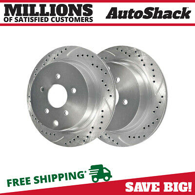 Rear Pair (2) Silver Drilled Slotted Rotors 5 Stud Fits 2003-2018 Nissan Murano