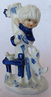 Vintage Figurine Boy on Tree Escaping From Dog Porcelain Ceramic 6""