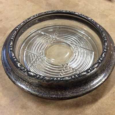 Classic vintage amston #120 sterling rim glass bottle coaster (  T 3 )  ZZ